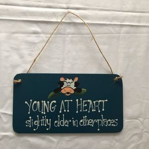 Young at Heart 💙 Blue Wooden Sign 20cm x 12cm